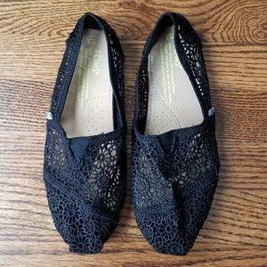 Tom's Black Floral Crochet Lace Ballet Flats 9